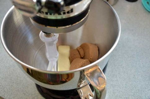 Cream together the dark brown sugar and butter