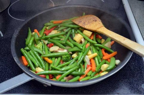 Cook the frozen veggies