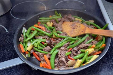 Add the beef back to the stir-fry