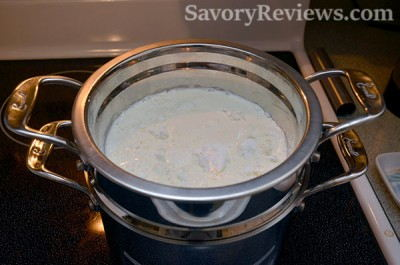 Add milk and cornstarch to a double boiler