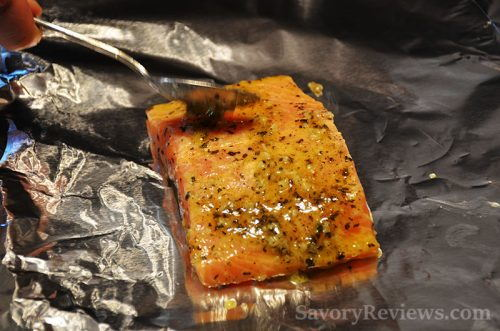 Place on the foil and cover with marinade
