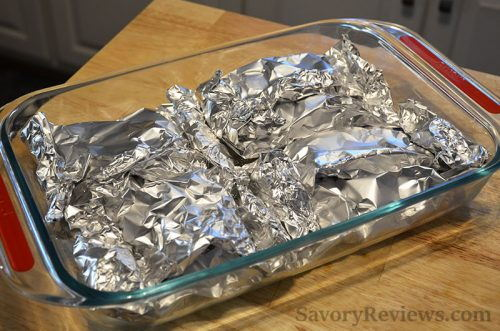 Place foil packets in a dish