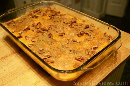 Freshly baked sweet potato casserole