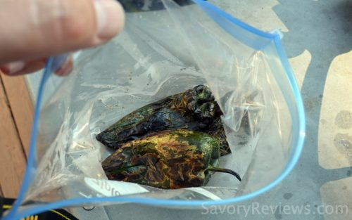 Seal the charred peppers in a bag