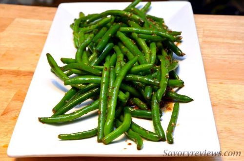 Garlic and soy glazed green beans