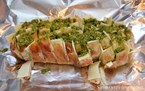 Pour the pesto over the bread